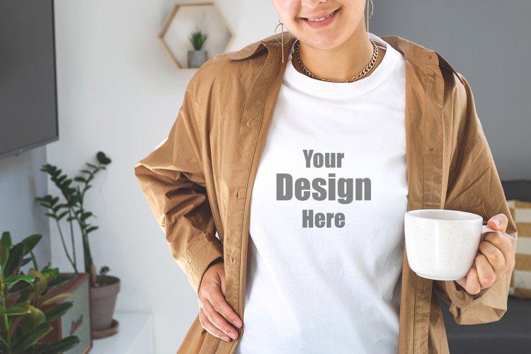 Woman wearing white T-shirt Mock up. Bella Canvas Mockup.