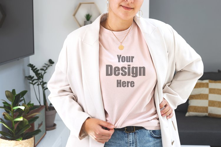 Woman wearing powdery T-shirt Mock up. Bella Canvas Mockup