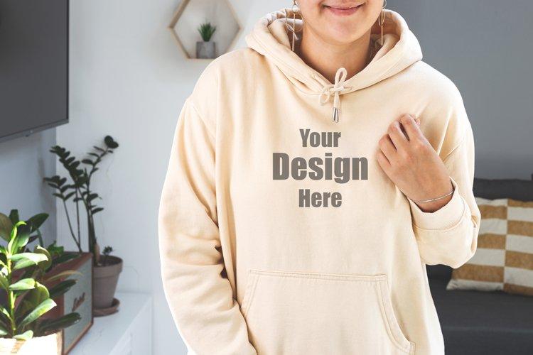 Woman wearing beige sweatshirt Mock up. Hoodie mockup