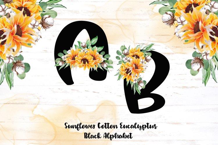 Black alphabet - Sunflower Eucalyptus