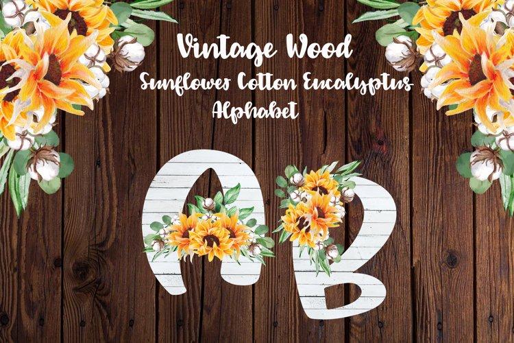 White Wood Sunflower Alphabet