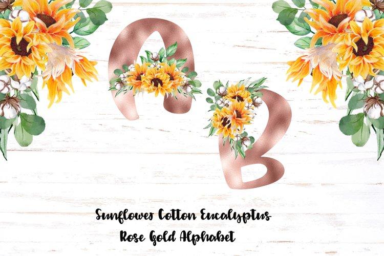 Rose Gold Alphabet Sunflower Eucalyptus