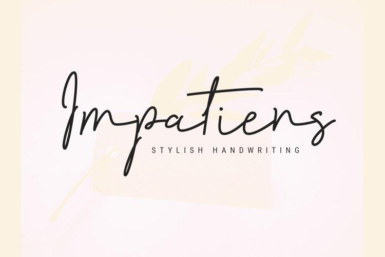 Impatiens - handwritten script font example image 1