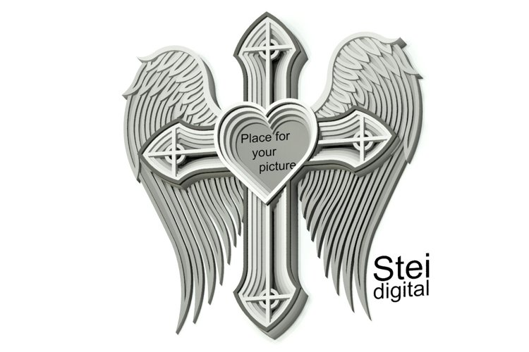 In memory cross SVG, DXF cut files, 3d cross with wings svg.
