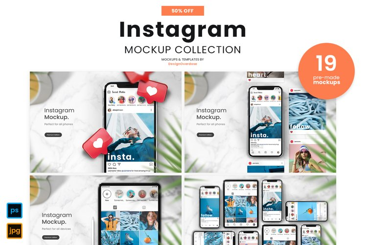 Instagram mockup and social media mockup for iphone and iPad on white marble table