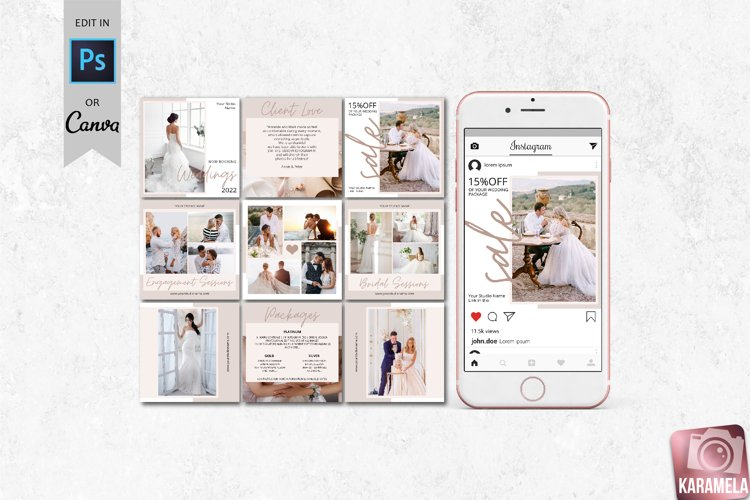 Wedding Photography Instagram Post Templates