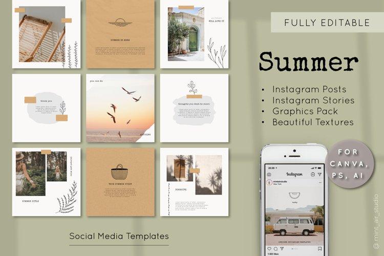 Instagram Post & Story Templates. Summer