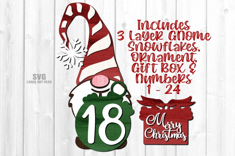 Gnome Christmas Countdown Sign SVG Glowforge Laser Files example image 1