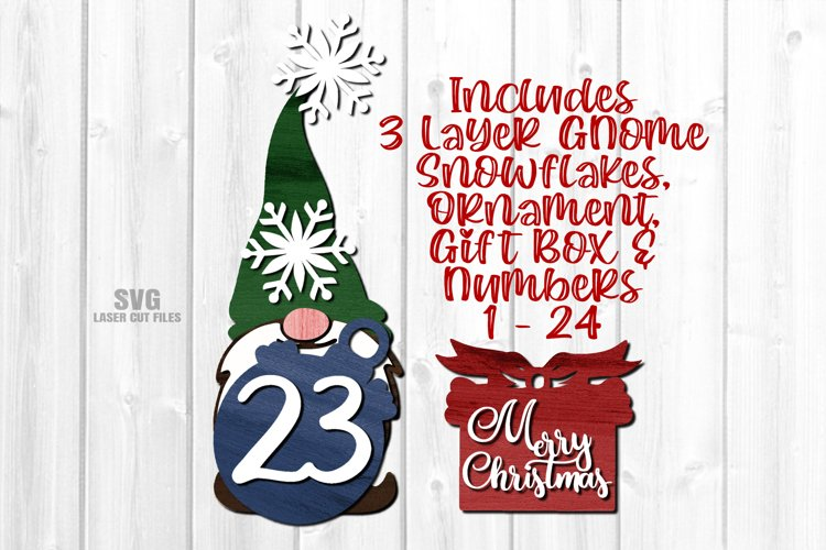 Gnome Christmas Countdown Sign SVG Glowforge Laser Files