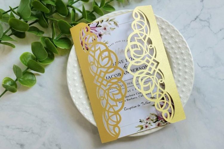 Laser cut wedding invitation svg, Cricut invitation template