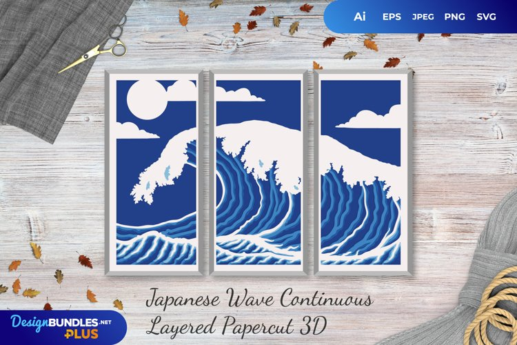 Japanese Wave Paper Cut  Continuous Layered Papercut example image 1