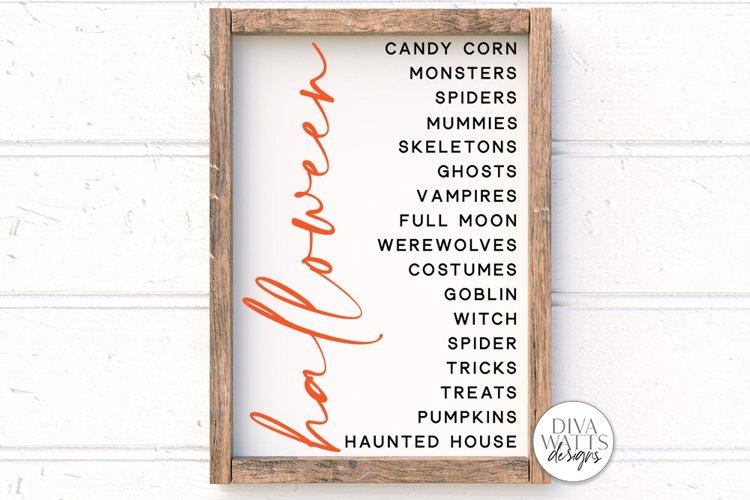 Halloween List SVG   Halloween Modern Farmhouse Sign   DXF a example image 1
