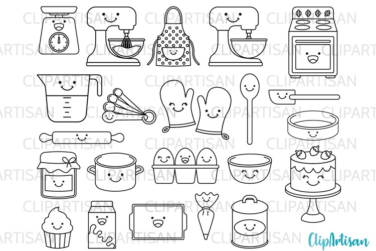 Kawaii Baking Digital Stamps, Cute Baking Clip Art example image 1