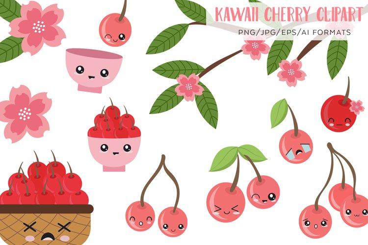 Kawaii cherry vector clipart