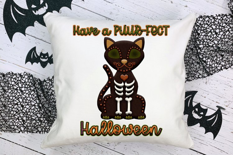 Have A Puur-Fect Halloween Black Cat Word Art For Crafts example image 1