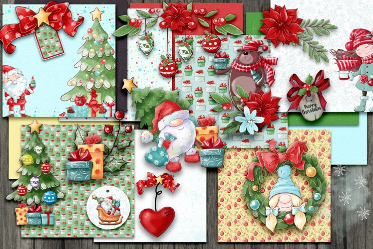 Christmas Scrapbooking Kit with Papers and Element Clusters example image 1