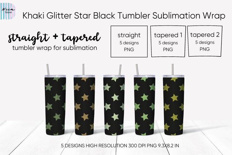 Khaki Glitter Star Seamless Black Tumbler Sublimation Wrap