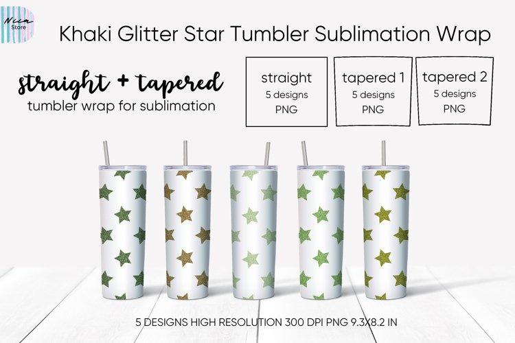 Khaki Glitter Star Seamless Tumbler Sublimation Wrap