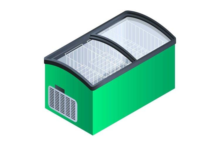 Green commercial fridge icon, isometric style example image 1