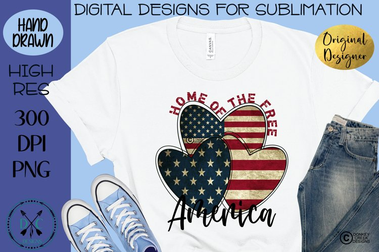 Sublimation Design Patriotic Hearts Land Of The Free PNG