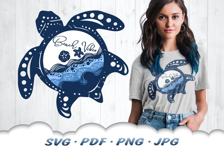 Layered Beach Vibes Sea Turtle SVG Cut Files