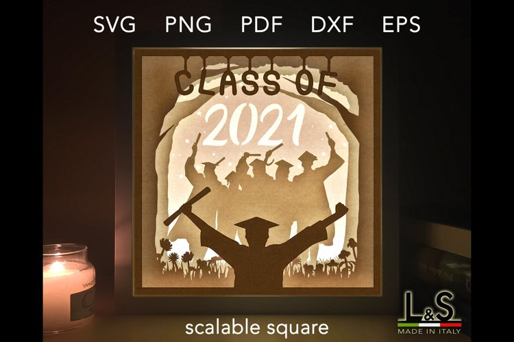 Graduation lighted shadow box template preview