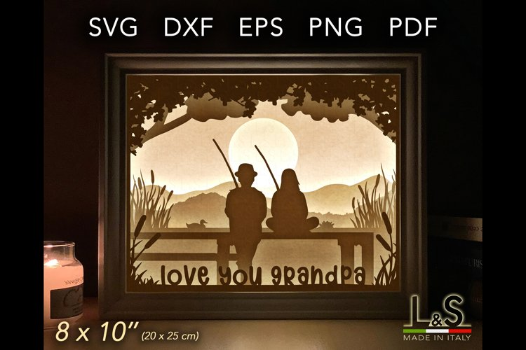 Layered grandpa shadow box template preview