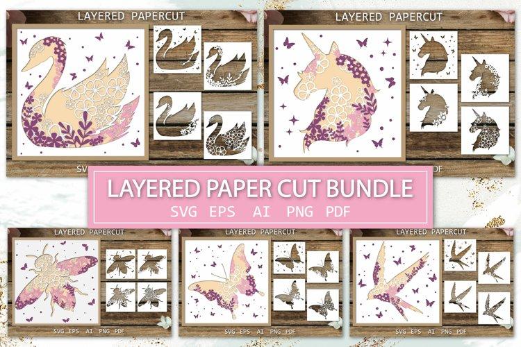 Layered Paper Cut Bundle, SVG 3D Cards, Shadow box, animals