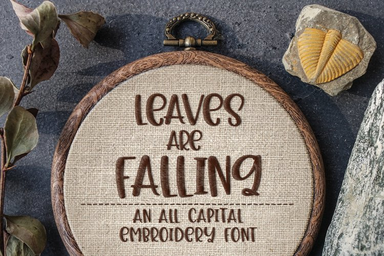 Leaves Are Falling - Embroidery Font example image 1