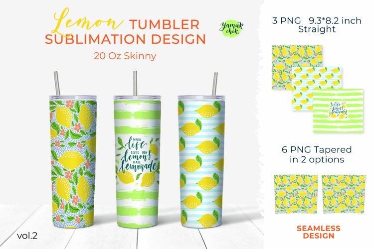 20oz Skinny Lemon Tumbler Sublimation Bright brush strokes