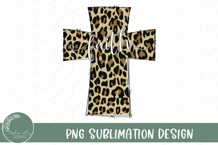 Leopard Faith Cross Sublimation-Christian Sublimation PNG