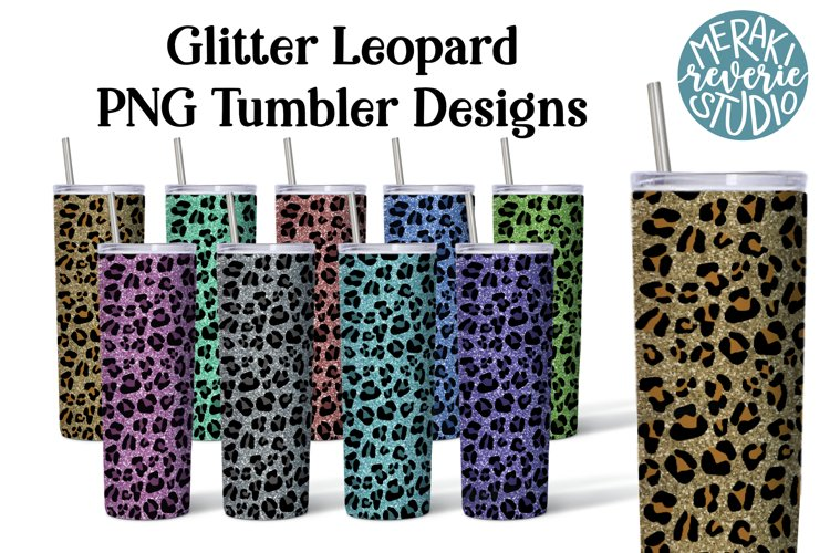 Image of 9 colors of glittery leopard print tumblers to be printed with special ink and used for sublimation on skinny tumblers.