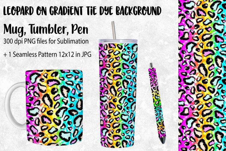 Leopard on Tie Dye Tumbler Sublimation, Pen and Mug Wrap