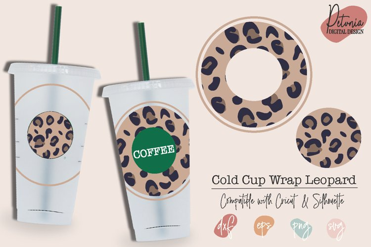 Cold Cup Circle Leopard SVG   Venti Cold Cup 24 Oz example image 1