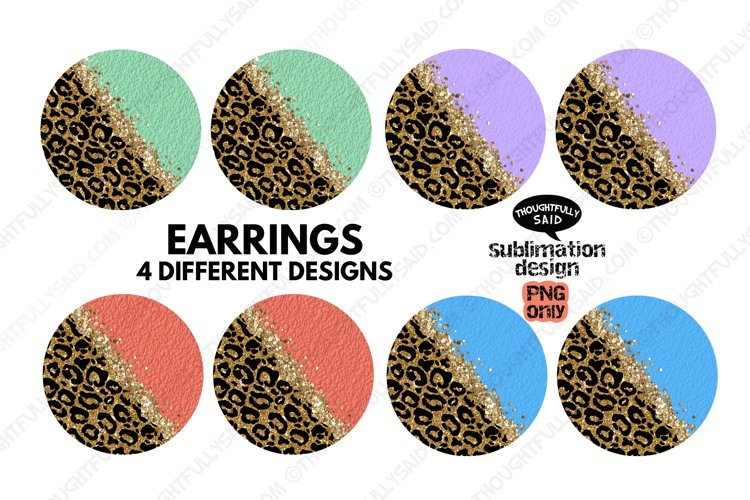 Round EARRING Sublimation PNGs Bundle, 4 Leopard Designs
