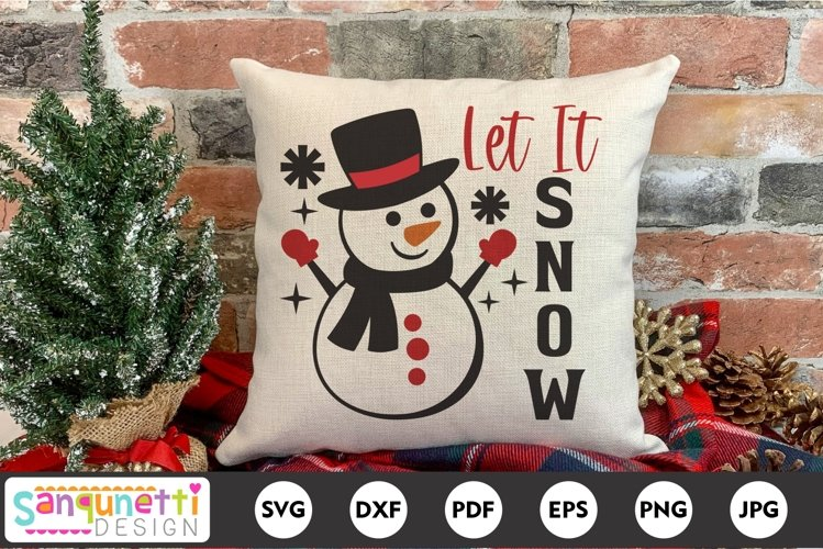 Let it Snow Snowman Winter and Christmas SVG example image 1