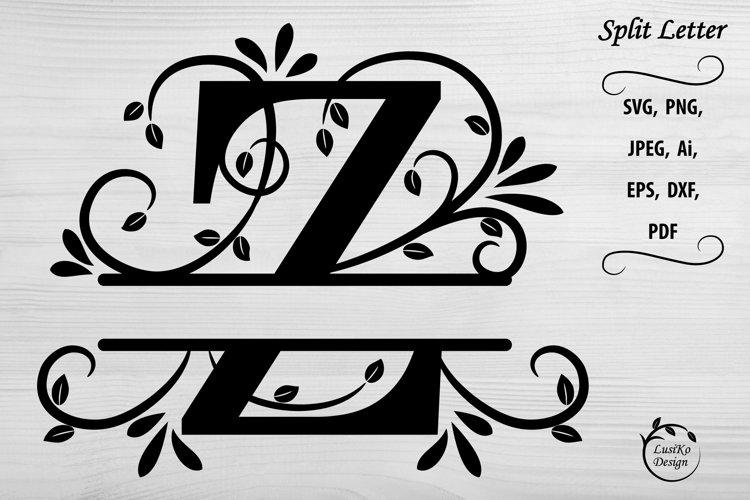 Letter Z. Split monogram letter Z. Floral alphabet SVG, DXF