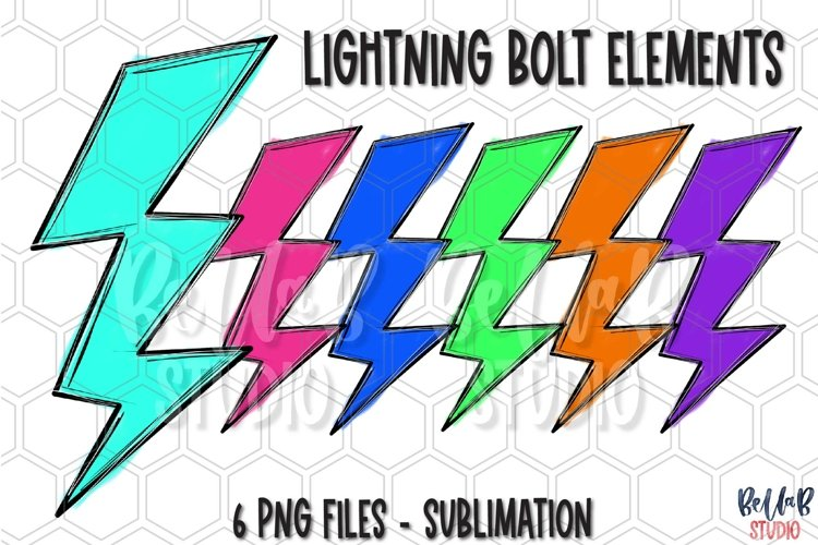 Lightning Bolt Sublimation Elements Bundle, Clip Art