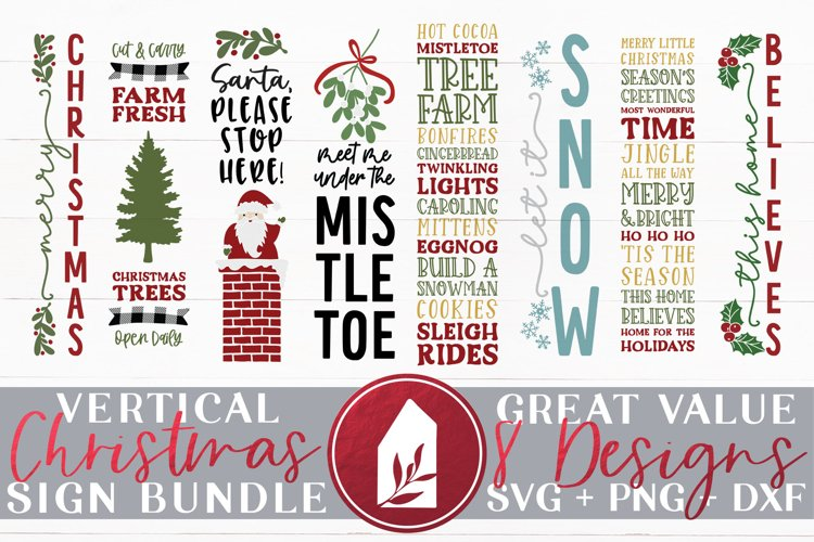 Vertical Christmas Sign Bundle of 8 Designs example image 1