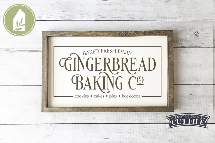Gingerbread Baking Co, Christmas Sign, Christmas SVG example image 1