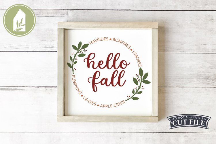 Hello Fall, Round Fall Sign, Fall Sign SVG, Autumn Leaf SVG example image 1