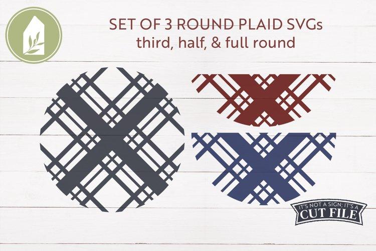 Plaid SVG, Round Sign SVG, Christmas Decor example image 1