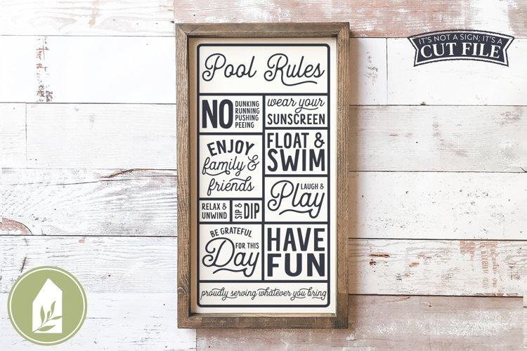 Pool Rules SVG, Wood Sign SVG, Summer SVG example image 1
