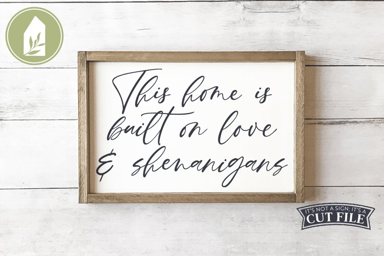 Funny Family Sign, Love and Shenanigans SVG example image 1
