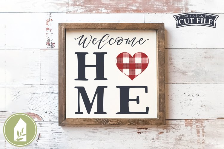 Welcome Home SVG, Buffalo Plaid Heart SVG example image 1