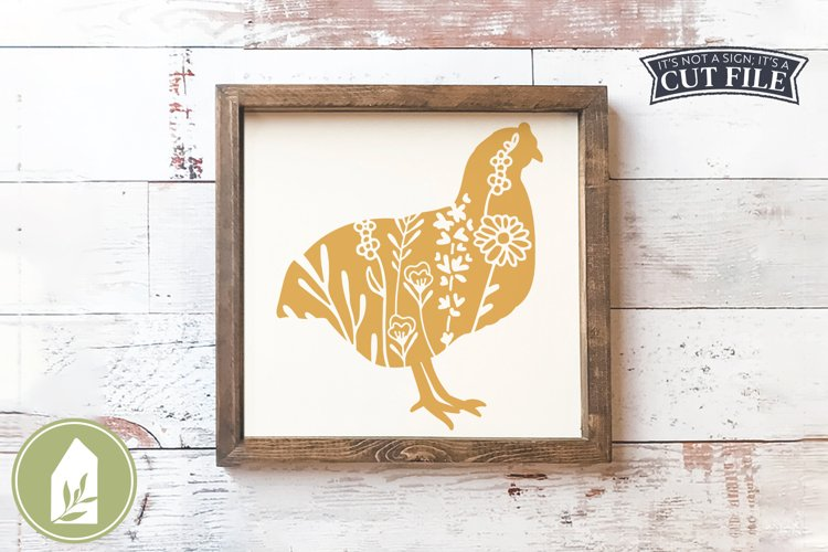 Wildflower Chicken SVG, Farmhouse SVG example image 1