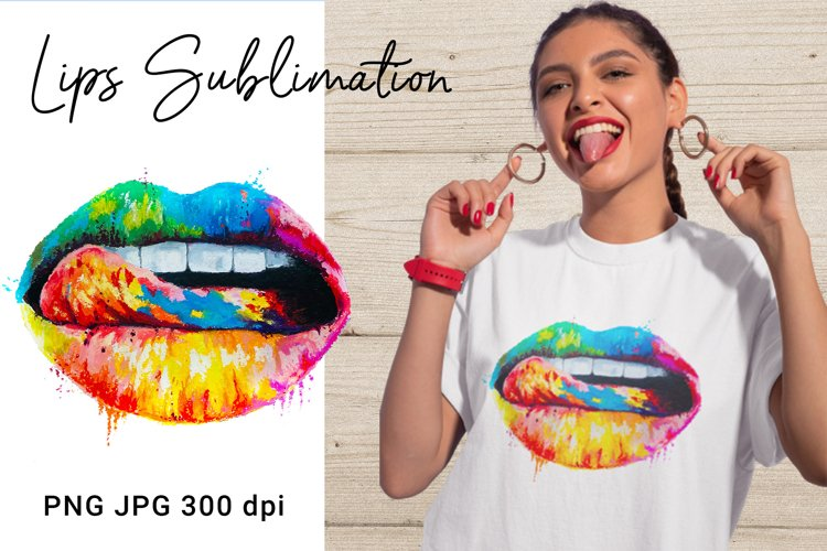 Colorful lips with tongue. Sublimation design for t shirts