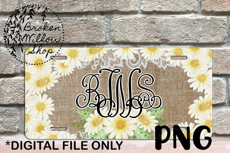 Daisy License Plate Sublimation PNG File Instant Download
