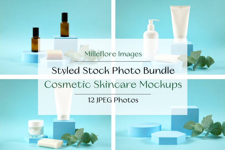 Cosmetic Skincare Containers JPEG Mockups in Styled Settings