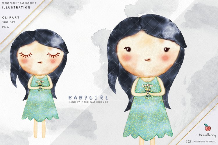 Cute Baby Girl Clipart - Black Hair Glitter  Drawberry i004 example image 1